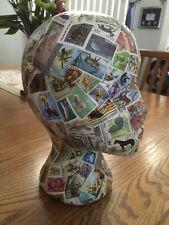 Decoupage Store Mannequin Display Head Wig Hat Holder World Stamps Wildlife