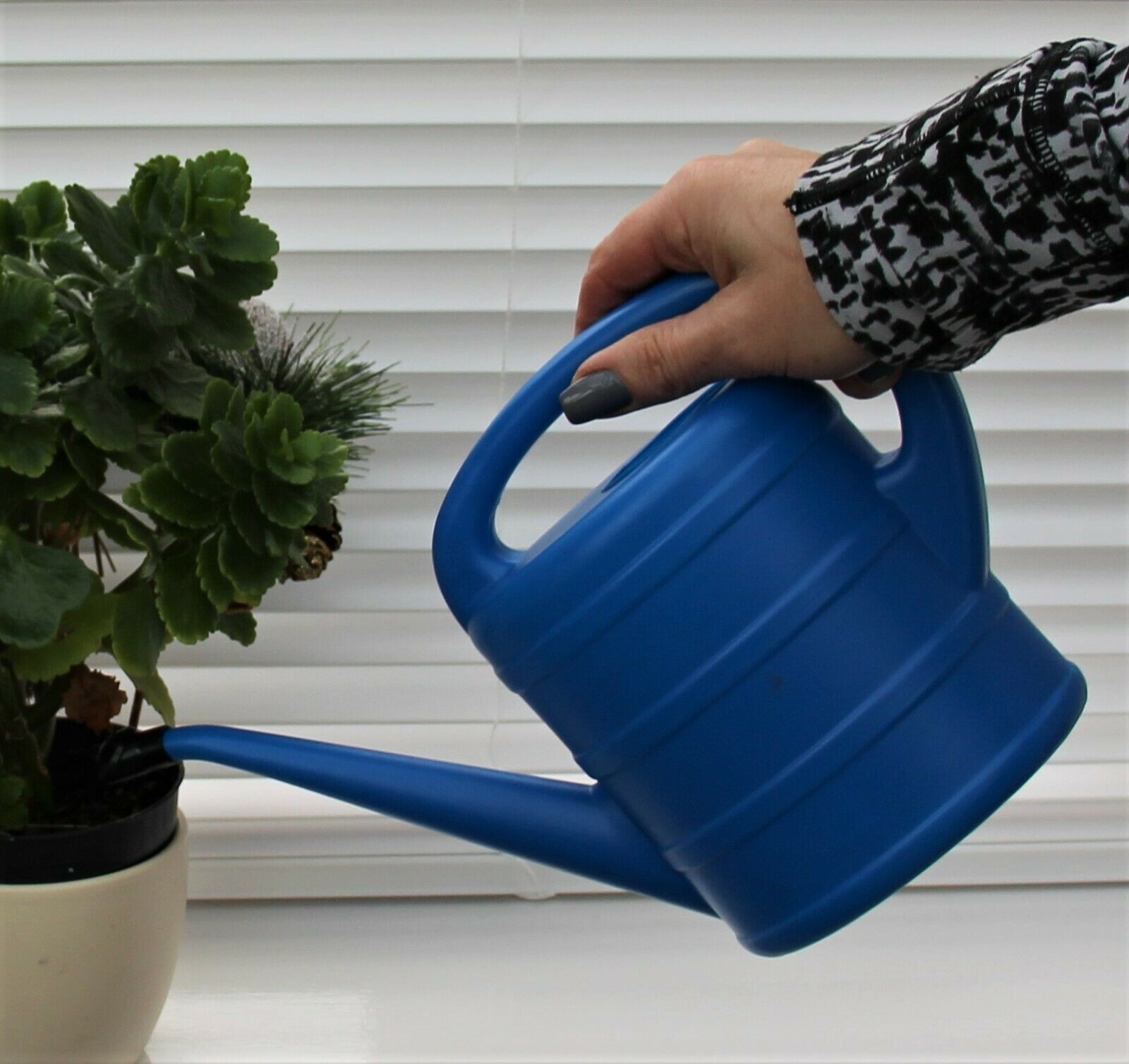 Watering Can Indoor Long Spout Garden Plants Grey Plastic In/Out 1 Ltr