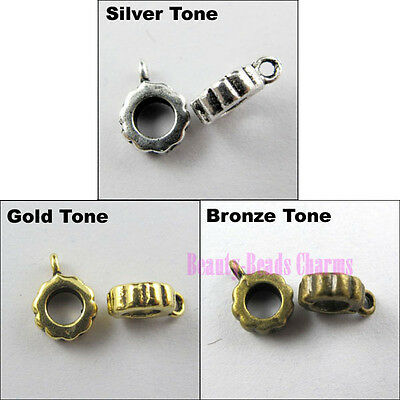 40 Tibetan Silver Gold Bronze 4mm Hole Charms Bail Connector Beads Fit Bracelets