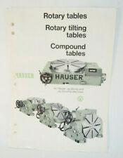 Hauser Jig Boring Grinding Machine Rotary Tables Tilting Brochure Advertisement