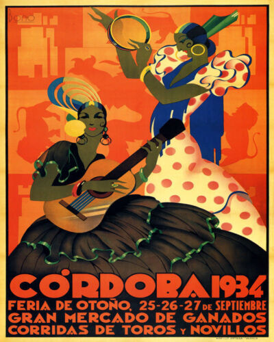 POSTER CORDOBA 1934 AUTUMN FAIR SPANISH MUSIC SPAIN VINTAGE REPRO FREE S//H