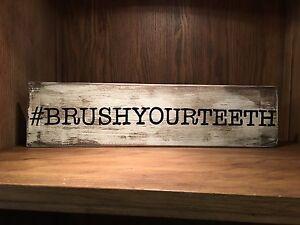 Bathroom Signs Brush Your Teeth bathroom sign, brush your teeth, rustic wood sign, distressed
