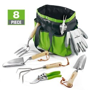 WORKPRO 8PC Garden Tools Set Stainless Steel HeavyDuty Wooden Handle Tote Gloves