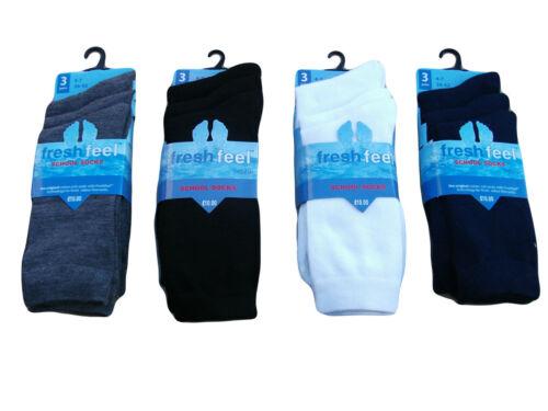 6,12 X Pairs Girls Uniform Plain Everyday Socks Black Grey Ankle School Socks