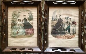Vintage-La-Mode-Illustree-Framed-Reproduction-Prints-Set-of-2