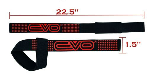 EVO Weight Lifting Gym Straps Training Gel Padded Hand Bar Wrist Support Wraps