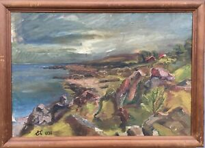Oil-Painting-Rocky-Coast-Baltic-Sea-Bornholm-Monogrammed-1938-Dated-55-x-76