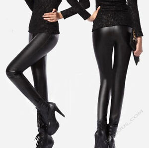 Sexy-Glanz-Wet-Look-Leggings-Leder-Look-Leggins-Legins-High-Waist-Hose-S-M-L