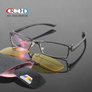 2853417938 Image is loading 2PCS-Magnetic-Polarized-Sunglasses-Clip-on-Metal-Fullrim-