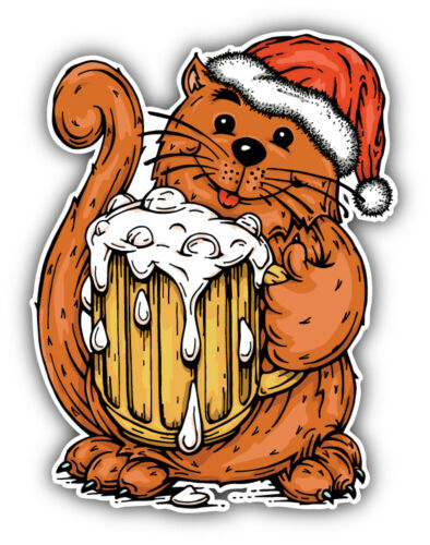 /'/'SIZES/'/' Christmas Cat With Beer Cartoon Animal Car Bumper Sticker Decal