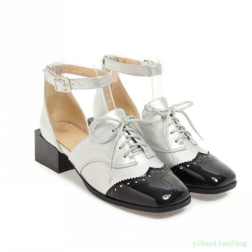 Women Ankle Strap Lace Up Chunky Patent Leather Buckle Wing Tip Square Toe Shoes