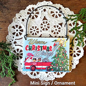 Fire-Engine-CHRISTMAS-Mini-sign-fireman-Firefighter-Wood-Ornament-New-USA