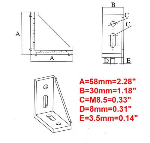 4-set Aluminum T-slot 3030//3060 profile 90 deg corner bracket 30x60-8mm