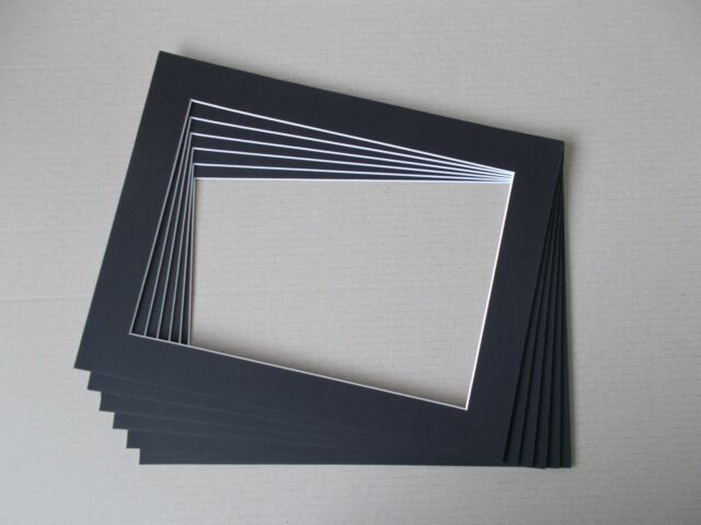 "6 x Professional Picture Framing Mat Boards 11""x 14"" with 8""x12"" Photo"