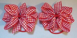 2-RED-AND-WHITE-GINGHAM-3-034-BOWS-GIRLS-SCHOOL-UNIFORM-BERISFORDS-HAIR-BOBBLES