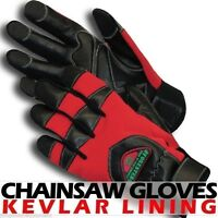 Chainsaw Protective Gloves, Aramid Lined,red,anti Vibe,breathable Spandex,medium