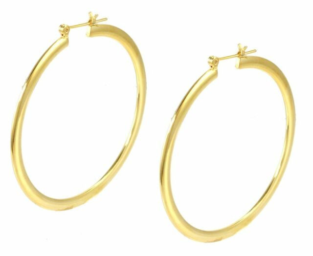 14k Gold Plated Hoop Earrings 2 Inches Drop