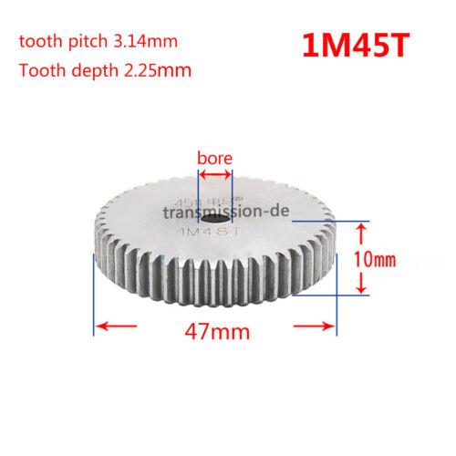Mod 1//1.5 12T-150T Spur Gear 45# Steel Pinion Gear Thickness 1M-10mm 1.5M-15mm