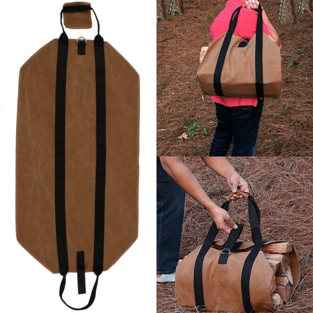 Hot Firewood Carrying Bag Canvas Wood Carrier Tote Outdoor Camping Picnic Holder