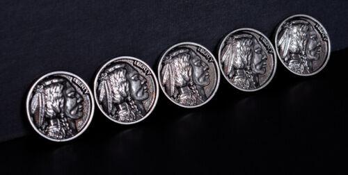 "2pcs 1-1//4 /""Argent Antique Buffalo Nickel Indian Head Remplacement Pièce concho"