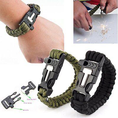 Survival Paracord Bracelet Outdoor Flint Fire Starter Scraper Whistle Gear Kits