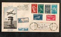 Israel Scott #C1-6 1st Airmails Reg. FDC Postmarked June 15th 10 Days Early!!