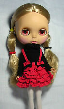 Blythe Doll Outfit Clothing Black Top + Red Ruffles Dress Set