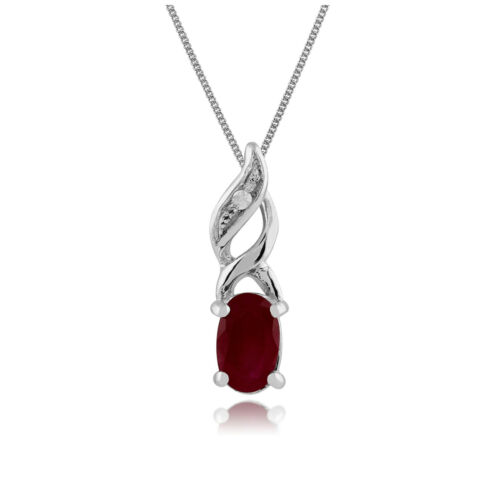 Gemondo 9ct White Gold 0.32ct Ruby /& Diamond Pendant on Chain