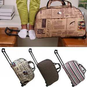 d200c34aa675 Details about WHEELED HAND LUGGAGE TROLLEY SMALL FLIGHT TRAVEL BAG CABIN  SUITCASE HOLDALL NS