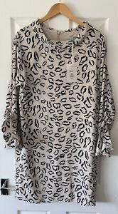 GINA-BACCONI-PINK-ANIMAL-LEOPARD-SHIFT-DRESS-UK-12-NEW