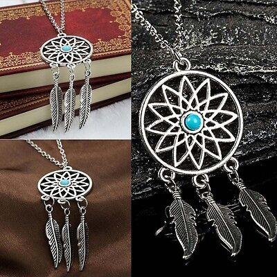 Women Boho Statement Necklace Retro Dream Catcher Pendant Costume Chain Jewelry