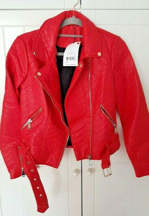 Bnwt Rouge Aspect Cuir Femme Biker Veste Jennyfer Taille Uk S Multiples Zip