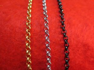 """4mm  16""""-84"""" STAINLESS STEEL  GOLD/SILVER/BLACK CROSS LINK  ROLO ROPE  NECKLACE"""
