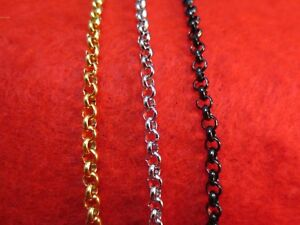 4mm-16-034-84-034-STAINLESS-STEEL-GOLD-SILVER-BLACK-CROSS-LINK-ROLO-ROPE-NECKLACE