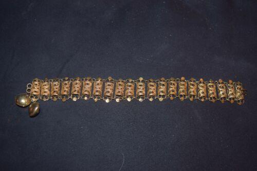 Mid Century Vintage Napier Gold Plated Filigree Capped Resin Crystal Charm Bracelet 1950s