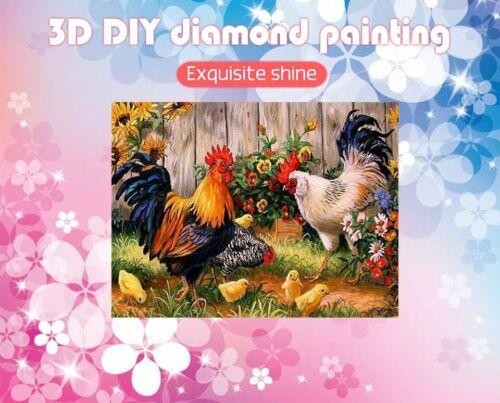 Pollo Gallo Diamante Patrón De Bordado De Diseño De 3D De Pintura Completo Taladros Cuadrado