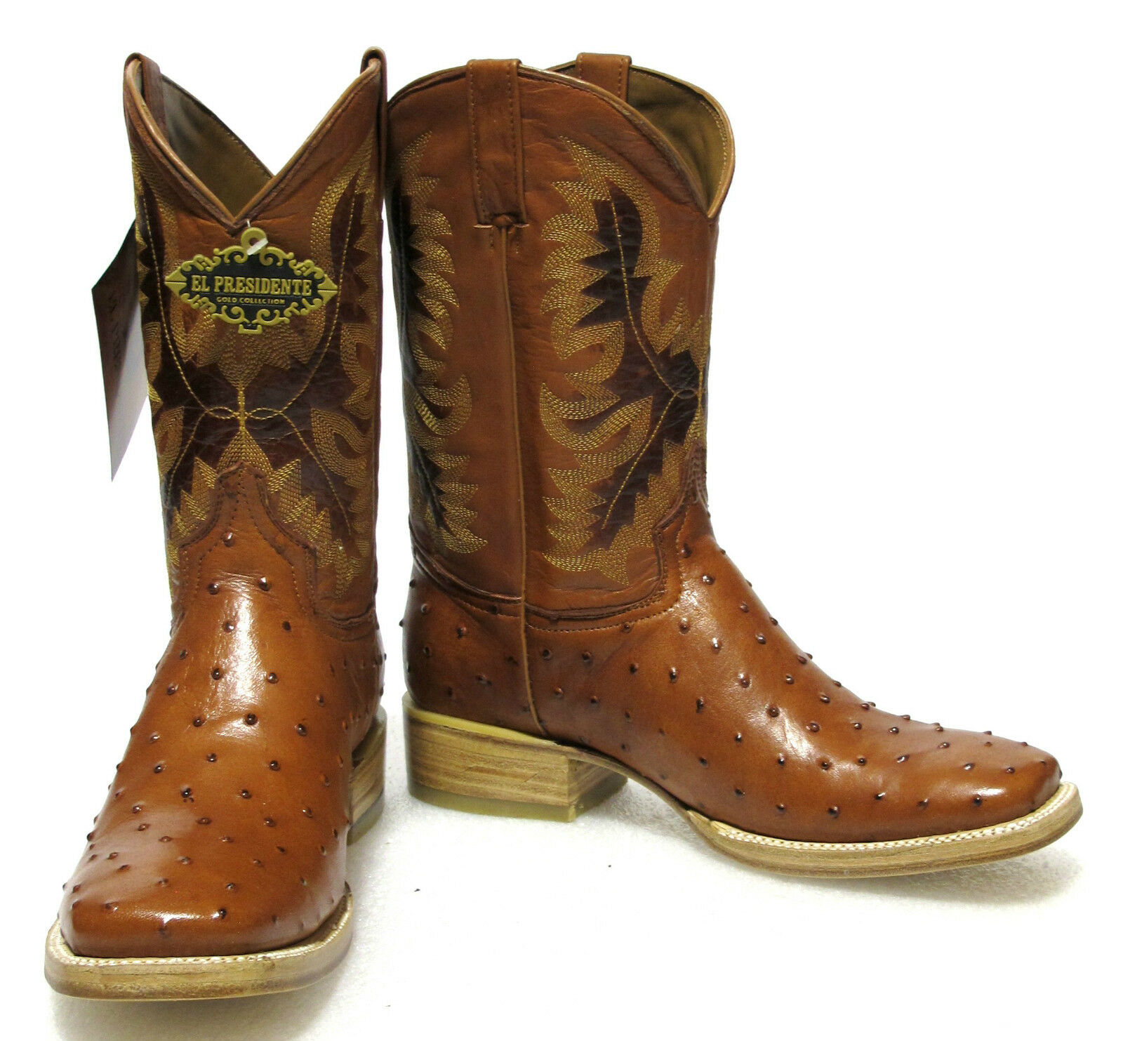Men's New Ostrich Quill Design Leather Cowboy Western Rodeo Boots Square Cognac