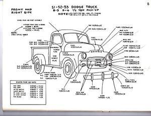 Details About 1948 1949 1950 Dodge Truck 1 2 3 4 1 Ton Exterior Body Parts Diagram Sheets Wm