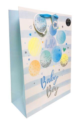 Free Tape Baby Gift Bag Boy New Large Medium XL Blue Present Wrap Arrival Birth