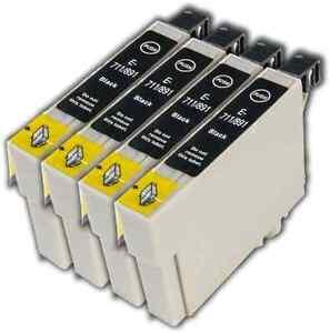 4-Black-T0711-non-OEM-Ink-Cartridge-For-Epson-Stylus-SX210-SX215-SX218-SX400