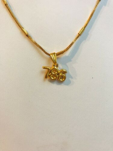 Allah Arab Muslim Islam Gold Plated With Gold Plated Chain Pendant