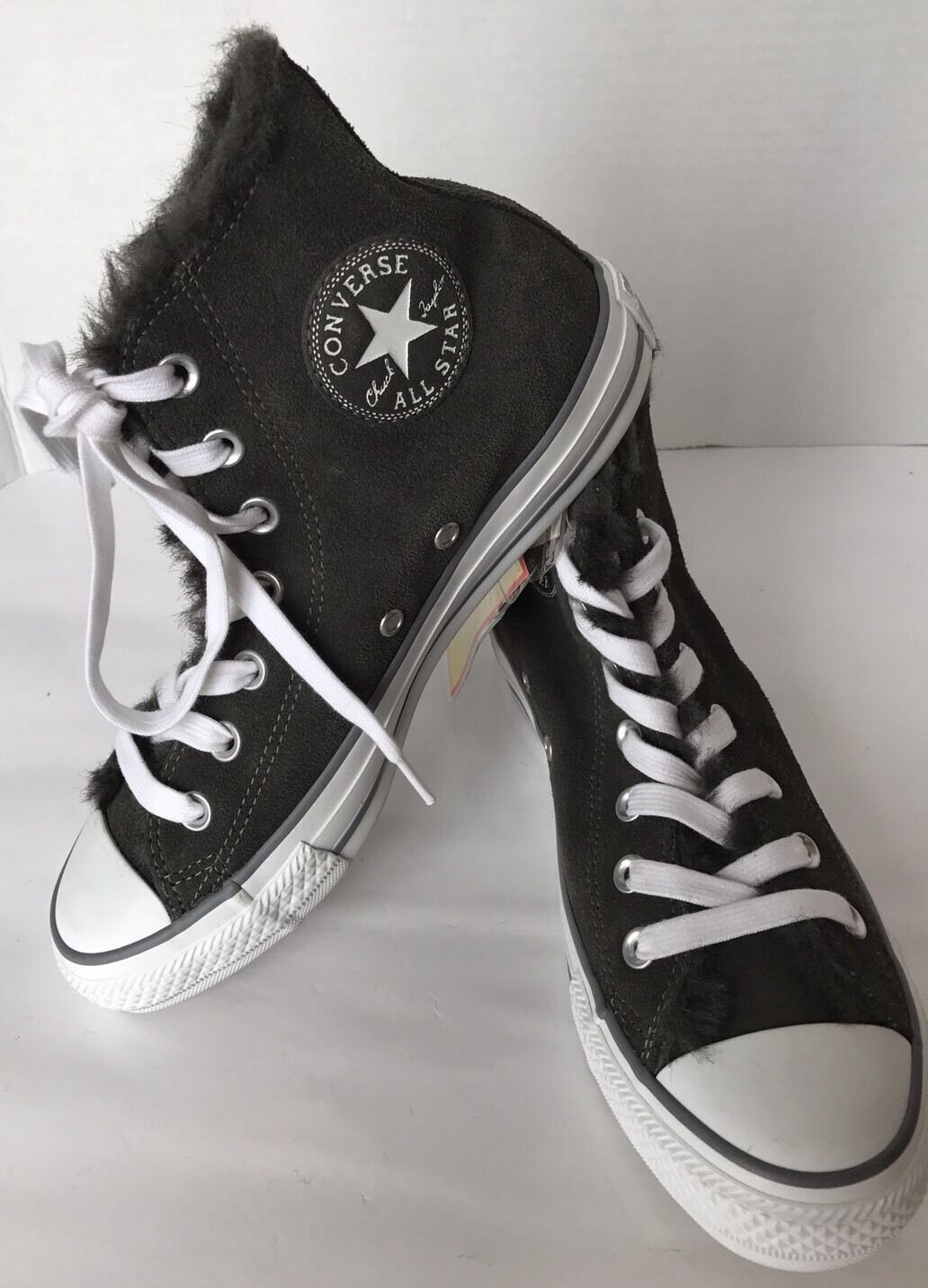 New Converse Chuck Taylor Gray Leather Suede Winter Hi-Cut Fur Lining Women 7