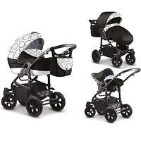 Baby Pram Stroller Car Seat - Pushchair 3in1 Buggy Swivel Wheels Poussette