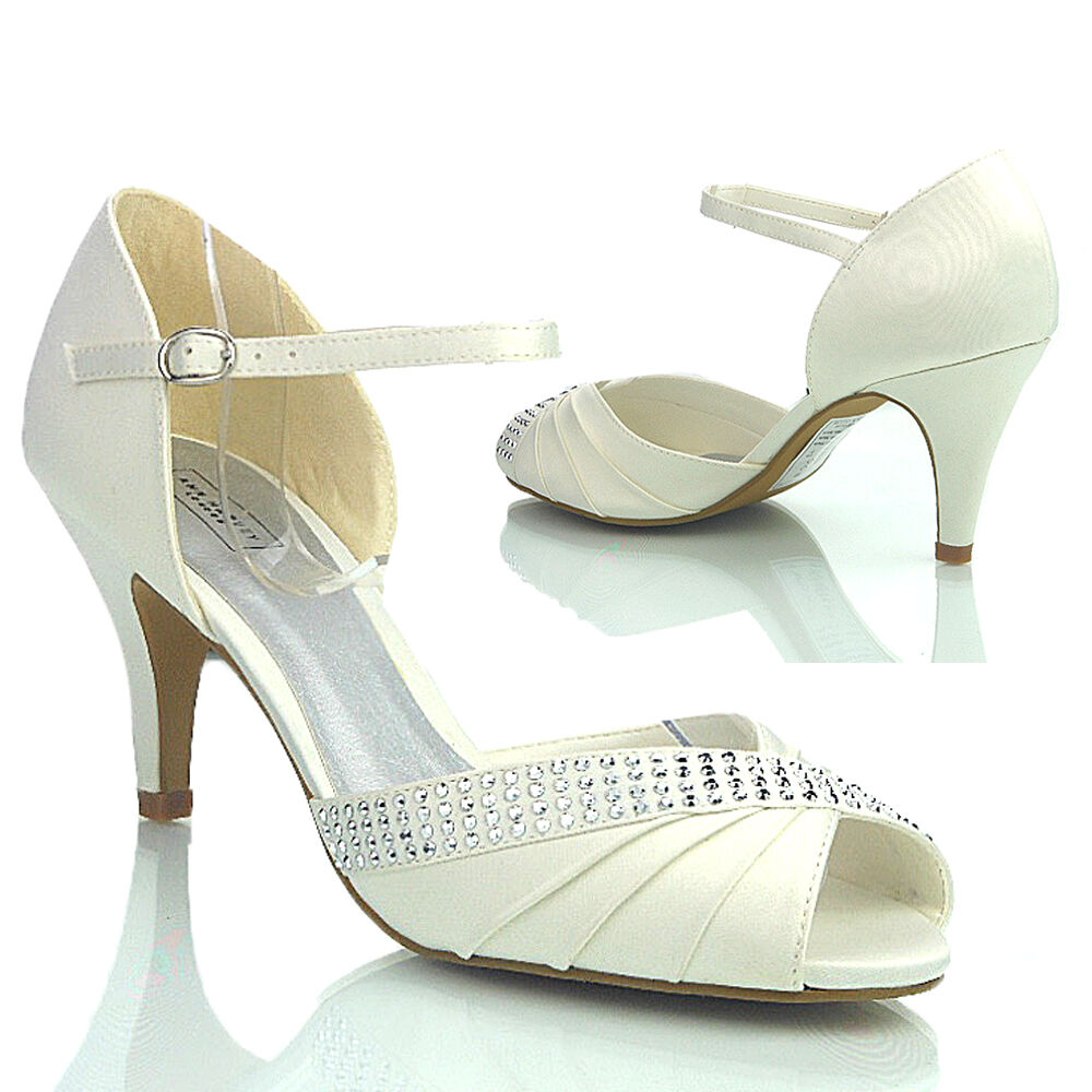 NEW WOMENS LADIES DESIGNER EVENING WEDDING PROM MID HEEL  PEEP TOE SHOES SIZE