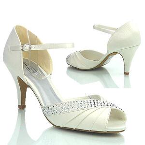 New Peep Evening Ivory Designer Ladies Size Toe Wedding Prom Heel Womens Shoes Mid q8t847r