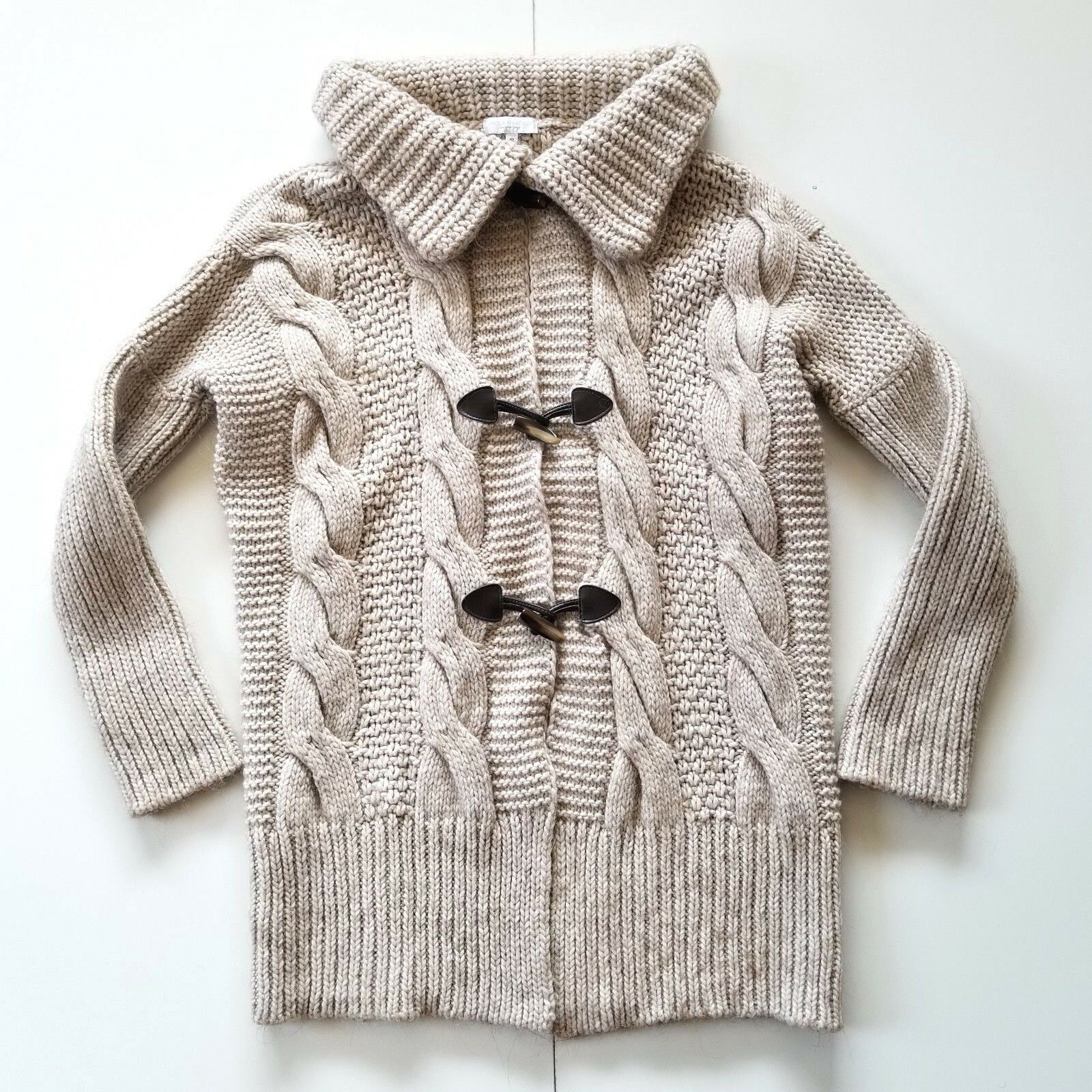 Paola Manfredi Heavy Chunky Cable Knit Cardigan Sweater S Wool Alpaca Blend Tan