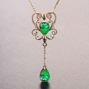 Silber-925-Schlangen-Halskette-Koenigin-Smaragd-Anhaenger-neuer-Stil-Damen-Schmuck