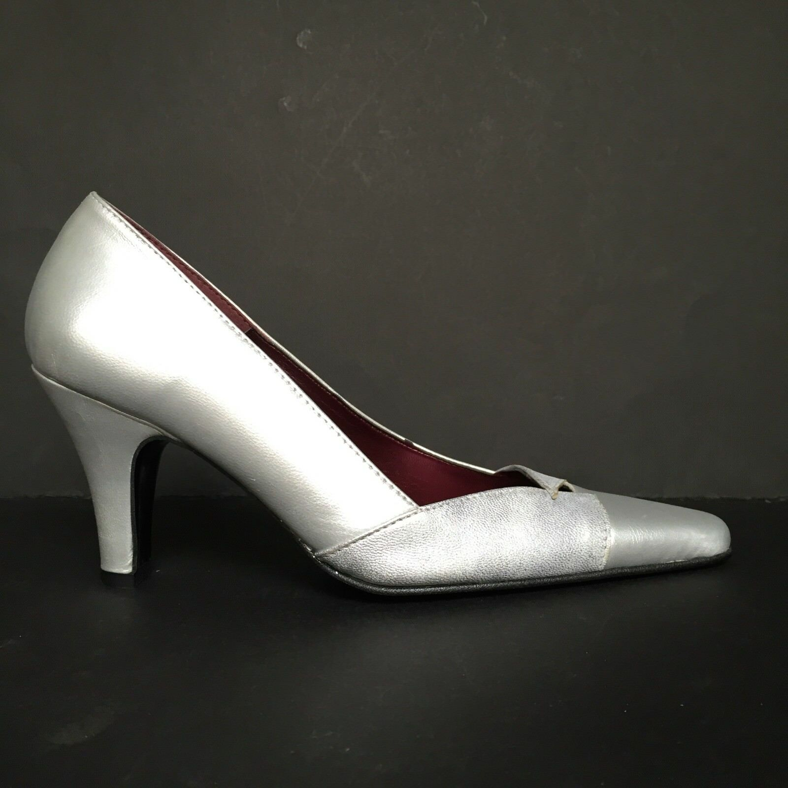Orlando Silver Grey Two-Tone Cutout Pointed Toe Leather Court Shoes
