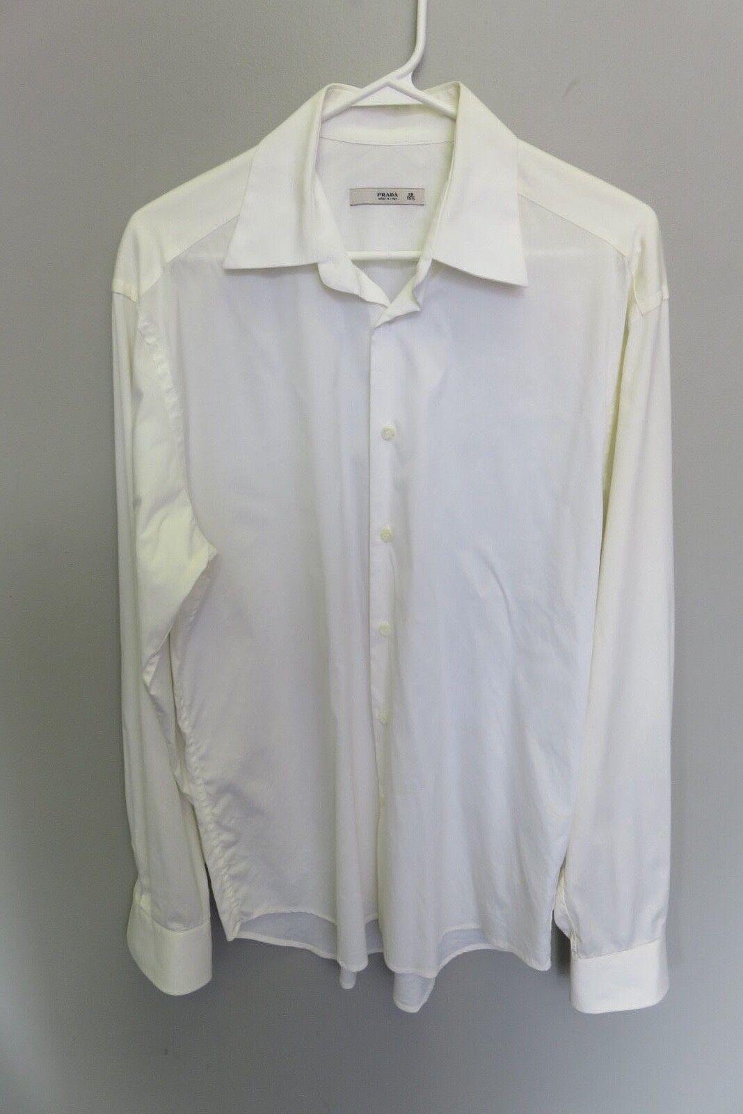Prada men shirt size 39 15.5 cream or off white, regular cuff