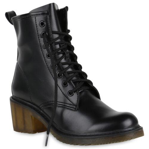 894228 Damen Schnürstiefeletten Leder Optik Stiefeletten Profil Schuhe Mode